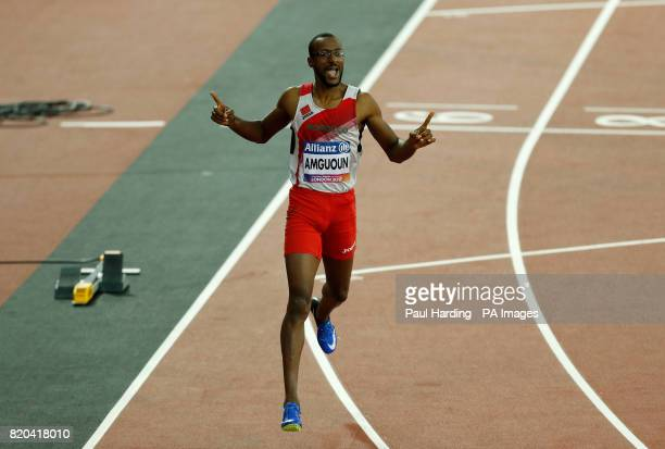 Morocco's Mohamed Amguoun celebrates winning the Men's 400m T13 Final during day eight of the 2017 World Para Athletics Championships at London...