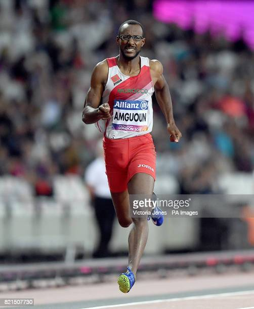Morocco's Mohamed Amguoun celebrates winning the Men's 400m T13 Final
