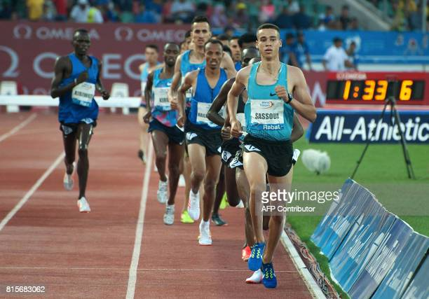 Morocco's Mounaime Sassioui competes in the 3000m steeplechase at the IAAF Diamond League Mohammed VI Athletics meeting in Rabat on July 16 2017 /...