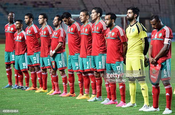 Morocco's national football team players pose for a picture during the 2016 African Nations Championship qualifying football match between Libya and...