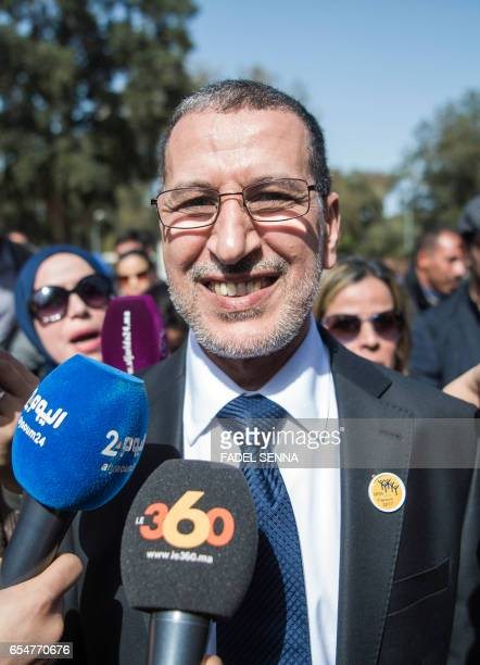 Morocco's new Prime Minister SaadEddine El Othmani arrives for a meeting of the ruling Islamist Justice and Development Party in Salé on March 18...