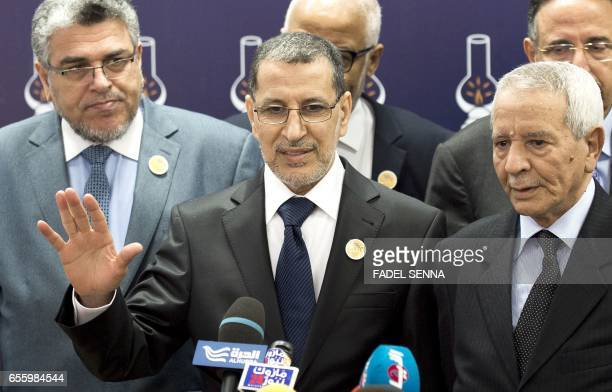 Morocco's new Prime Minister SaadEddine El Othmani gives a press conference in the headquarters of the Islamist Justice and Development Party in...