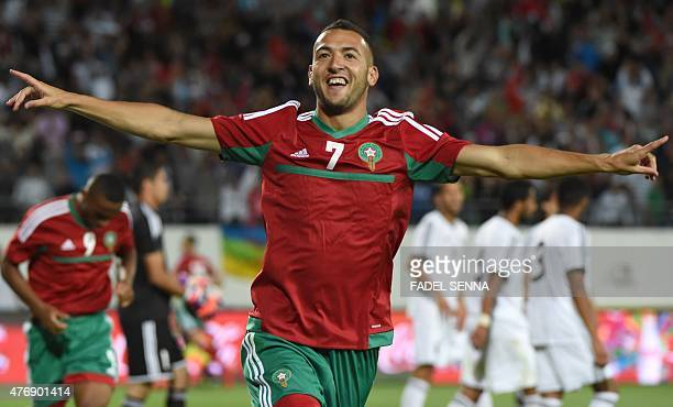 Morocco's Omar El Kaddouri celebrates a goal during the 2017 Africa Cup of Nations qualifying football match between Morocco and Libya's national...