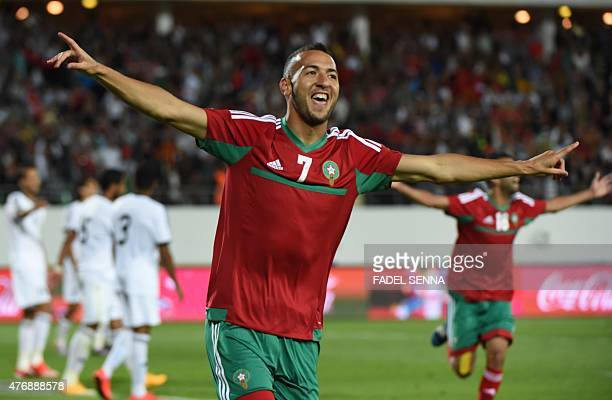 Morocco's Omar El kaddouri celebrates scoring a goal during the 2017 Africa Cup of Nations qualifying football match between Morocco and Libya on...