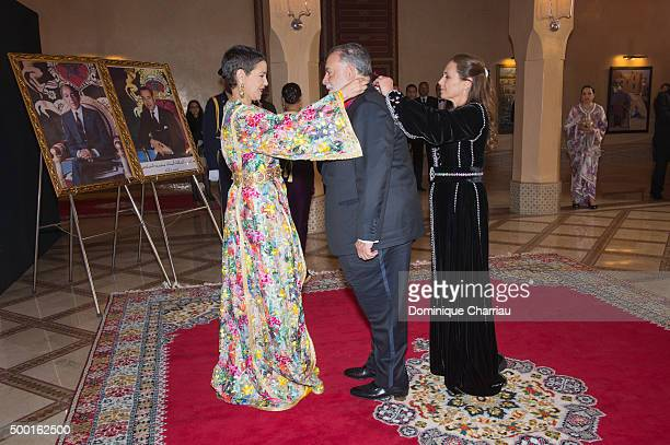 Morocco's Princess Lalla Meryem gives royal medal to Francis Ford Coppola during the 15th Marrakech International Film Festival on December 5 2015 in...