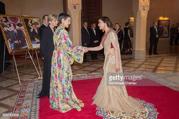 Morocco's Princess Lalla Meryem welcomes Madhuri Dixit during the 15th Marrakech International Film Festival on December 5 2015 in Marrakech Morocco