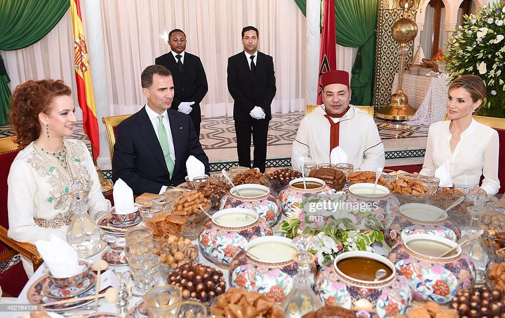 Morocco's Princess Lalla Salma Spain's King Felipe VI Moroccos King Mohammed VI and Spain's Queen Letizia attend a dinner at the royal palace in...