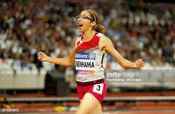 Morocco's Sanaa Benhama celebrates winning the Women's 1500m T13 Final during day one of the 2017 World Para Athletics Championships at London Stadium