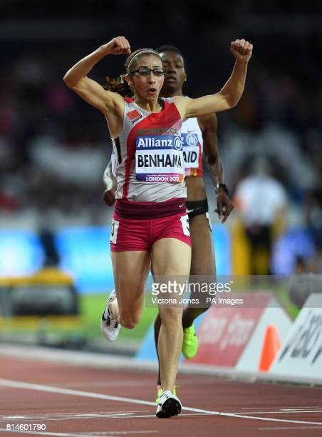 Morocco's Sanaa Benhama wins the Women's 1500m T13 Final during day one of the 2017 World Para Athletics Championships at London Stadium