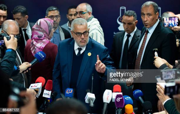 Morocco's Secretary General of the ruling Islamist Justice and Development Party and former prime minister Abdelilah Benkirane holds a press...