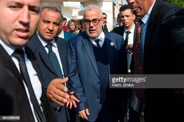Morocco's Secretary General of the ruling Islamist Justice and Development Party and former prime minister Abdelilah Benkirane leaves after holding a...