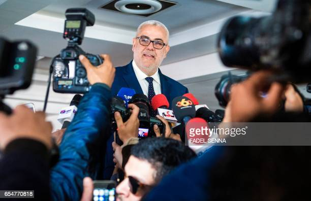 Morocco's Secretary General of the ruling Islamist Justice and Development Party and former prime minister Abdelilah Benkirane talks at a press...