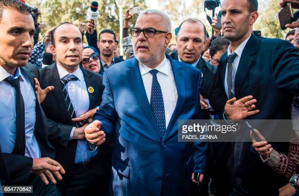 Morocco's Secretary General of the ruling Islamist Justice and Development Party and former prime minister Abdelilah Benkirane arrives for a meeting...