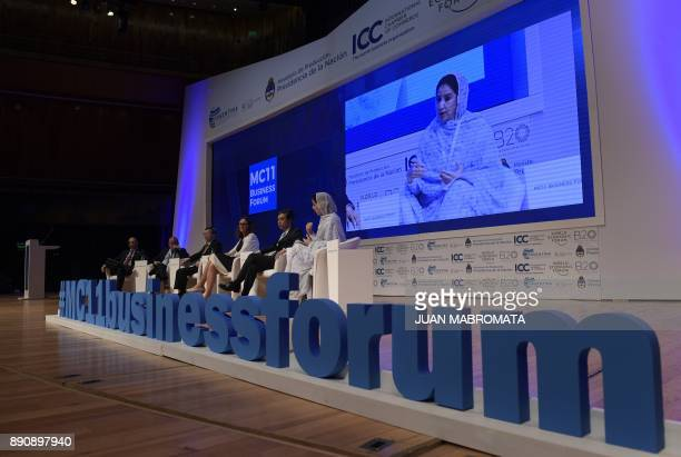 Morocco's Secretary of State Rakiya Eddarhem delivers a speech next to Japan's ViceMinister for International Affairs Tadao Yanase EU Trade...