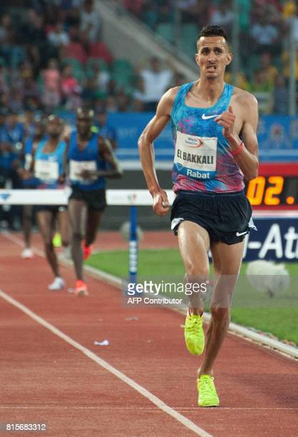 Morocco's Soufiane El Bakkali runs to win the 3000m steeplechase at the IAAF Diamond League Mohammed VI Athletics meeting in Rabat on July 16 2017 /...