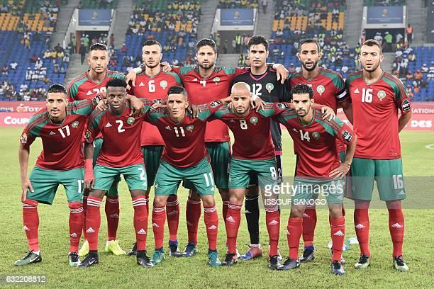 Morocco's squad forward Aziz Bouhaddouz midfielder Romain Saiss defender Manuel Da Costa goalkeeper Munir Mohand Mohamedi defender Mehdi Benatia...