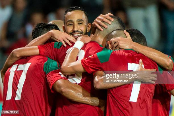 Morocco's team celebrates the victory during their FIFA world Cup 2018 Group C football match between Morocco and Gabon on October 7 at Mohammed V...