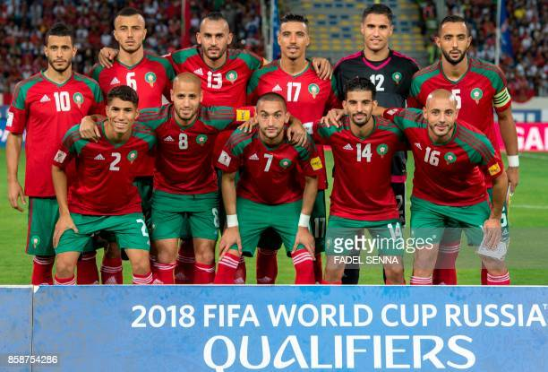 Morocco's team during their FIFA world Cup 2018 Group C football match between Morocco and Gabon on October 7 at Mohammed V Stadium in Casablanca /...