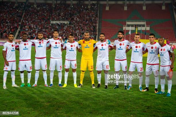 Morocco's Wydad Athletic Club team pose before the CAF Champions League quarterfinal match against South Africa's South Africa's Mamelodi Sundowns at...