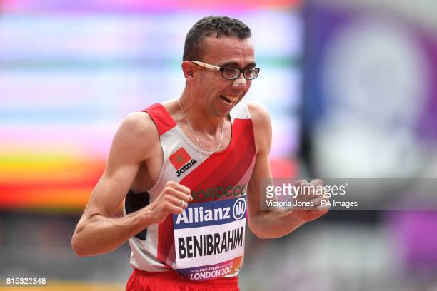 Morocco's Youssef Benibrahim celebrates winning Men's 5000m T13 final during day three of the 2017 World Para Athletics Championships at London...