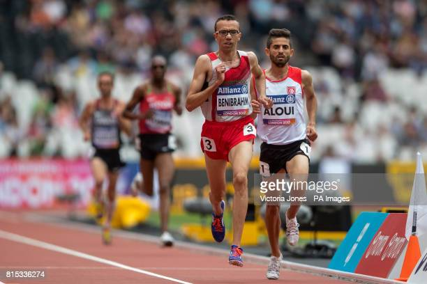 Morocco's Youssef Benibrahim in the Men's 5000m T13 final during day three of the 2017 World Para Athletics Championships at London Stadium during...