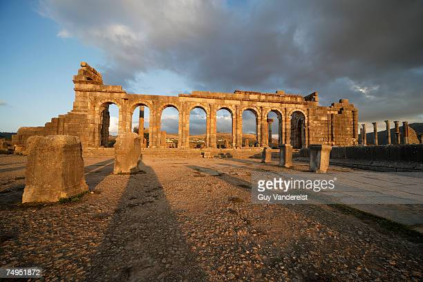 Morocco,Volubilis, basilica at sunset
