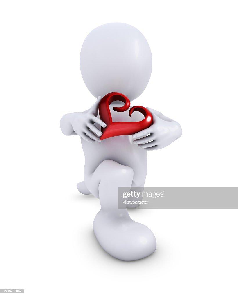 Morph hombre con corazón : Foto de stock