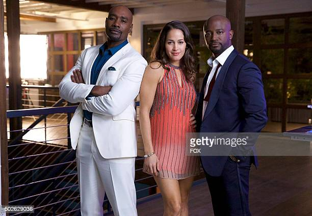 Morris Chestnut Jaina Lee Ortiz and guest star Taye Diggs in the 'Fashionistas and Fascists' episode of ROSEWOOD airing Wednesday Nov 25 on FOX