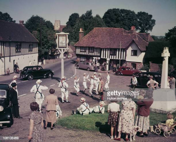 Morris dancers at Ightham in Kent 5th September 1953 They are attending the national gathering at Tonbridge at the weekend