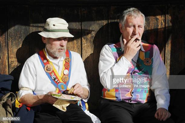 Morris dancers Philip Keatley from Willersey and Kevin McLeish from Pebworth take a break as they celebrate the launch of British asparagus season A...