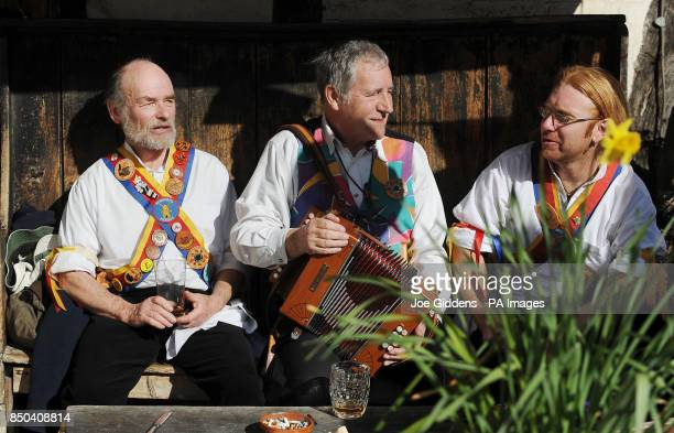 Morris dancers Philip Keatley from Willersey Kevin McLeish from Pebworth and Jon Parkinson from Bretforton take a break as they celebrate the launch...