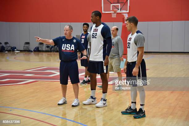 Morris McHone coaches Jonathan Holmes and Billy Baron of the USA AmeriCup Team during a training camp at the University of Houston in Houston Texas...