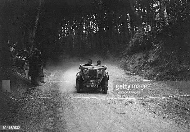 Morris Minor of JWP Bolton taking part in a motoring trial c1930s Artist Bill BrunellMorris Minor 847 cc Vehicle Reg No HX8106 Event Entry No 27...