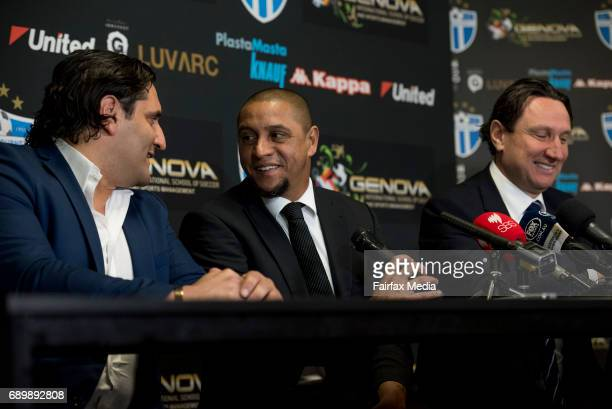 Morris Pagniello Brazilian soccer legend Roberto Carlos and Bill Papastergiadis are seen at a press conference at Lakeside Stadium on May 29 2017 in...