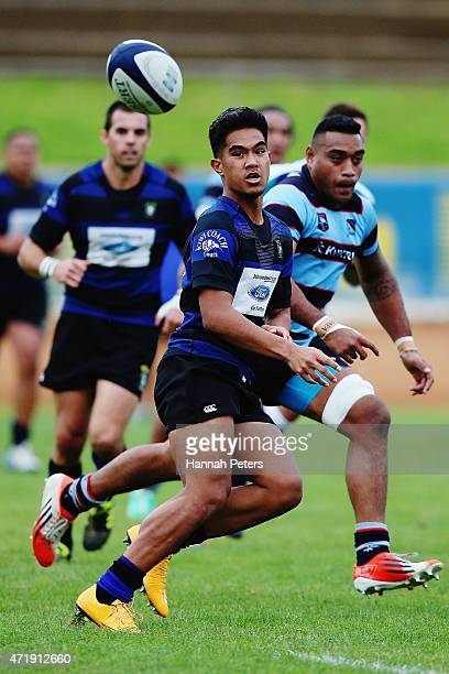 Morrison Siliko of Ponsonby passes the ball out during the club rugby game between Ponsonby and Marist at Western Springs Stadium on May 2 2015 in...