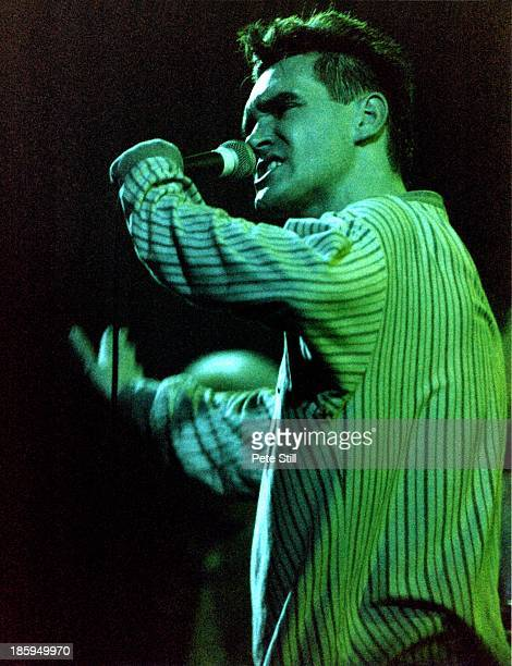 Morrissey of The Smiths performs on stage at Brixton Academy on October 24th 1986 in London England