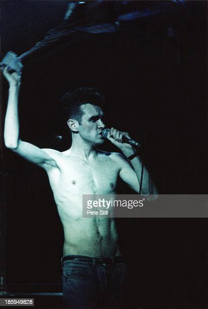 Morrissey of The Smiths performs on stage at Hammersmith Palais on March 12th 1984 in London England
