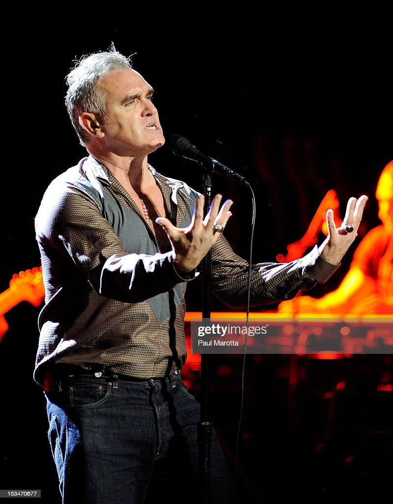 <a gi-track='captionPersonalityLinkClicked' href=/galleries/search?phrase=Morrissey+-+Singer&family=editorial&specificpeople=11521934 ng-click='$event.stopPropagation()'>Morrissey</a> performs at Wang Theatre on October 5, 2012 in Boston, Massachusetts.