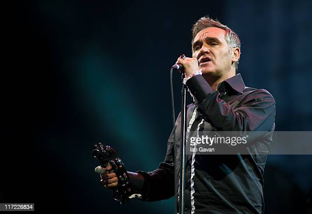 Morrissey performs live on the pyramid stage during the Glastonbury Festival at Worthy Farm Pilton on June 24 2011 in Glastonbury England The...