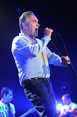 Morrissey performs on stage at Manchester Arena on July 28 2012 in Manchester United Kingdom