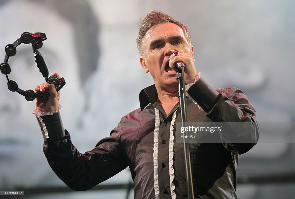Morrissey performs on the Pyramid Stage at Glastonbury Festival on June 24, 2011 in Glastonbury, England.