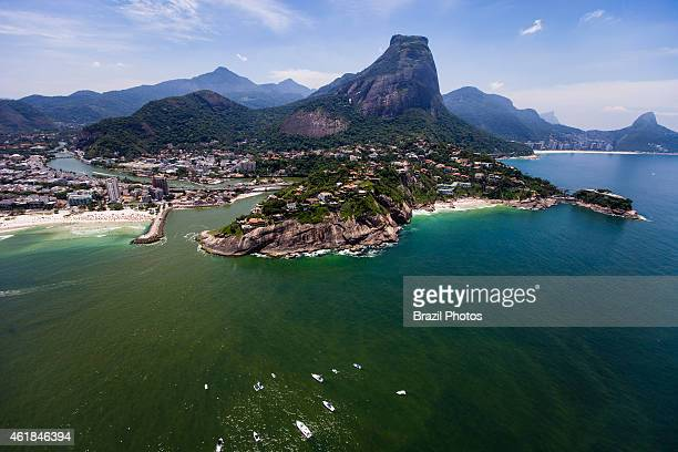 Morro da Joatinga and Joa borough at right / center an upscale neighborhood of upper class mansions in the West Zone of the city beggining of Barra...