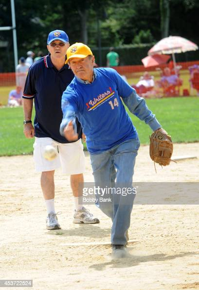 Mort Zuckerman and Raymond Kelly attends the 2014 East Hampton Artists Writers Celebrity Softball Game at Herrick Park on August 16 2014 in East...