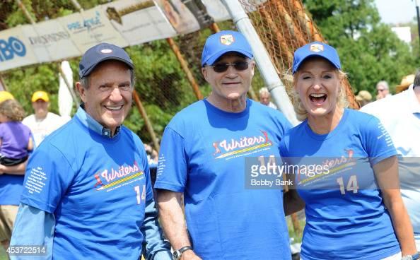 Mort Zuckerman Ann Liguori and Raymond Kelly attends the 2014 East Hampton Artists Writers Celebrity Softball Game at Herrick Park on August 16 2014...