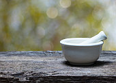 mortar and pestle on wood table