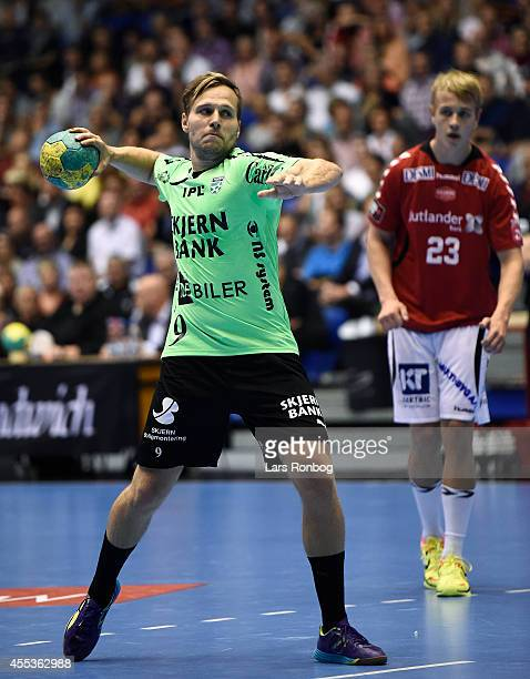 Morten Balling Christensen of Skjern Handbold in action during the Danish Men's Handball Liga match between Aalborg Handbold and Skjern Handbold at...