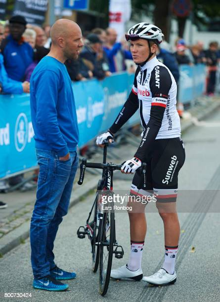 Morten Bennekou sports director of Team Sunweb speaks to Soren Kragh Andersen of Team Sunweb prior to the Elite Mens Road Race in the Danish Road...