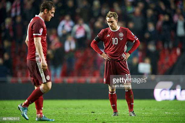 Morten Duncan Rasmussen and Christian Eriksen of Denmark looks dejected after the UEFA EURO 2016 Qualifier PlayOff Second Leg match between Denmark...