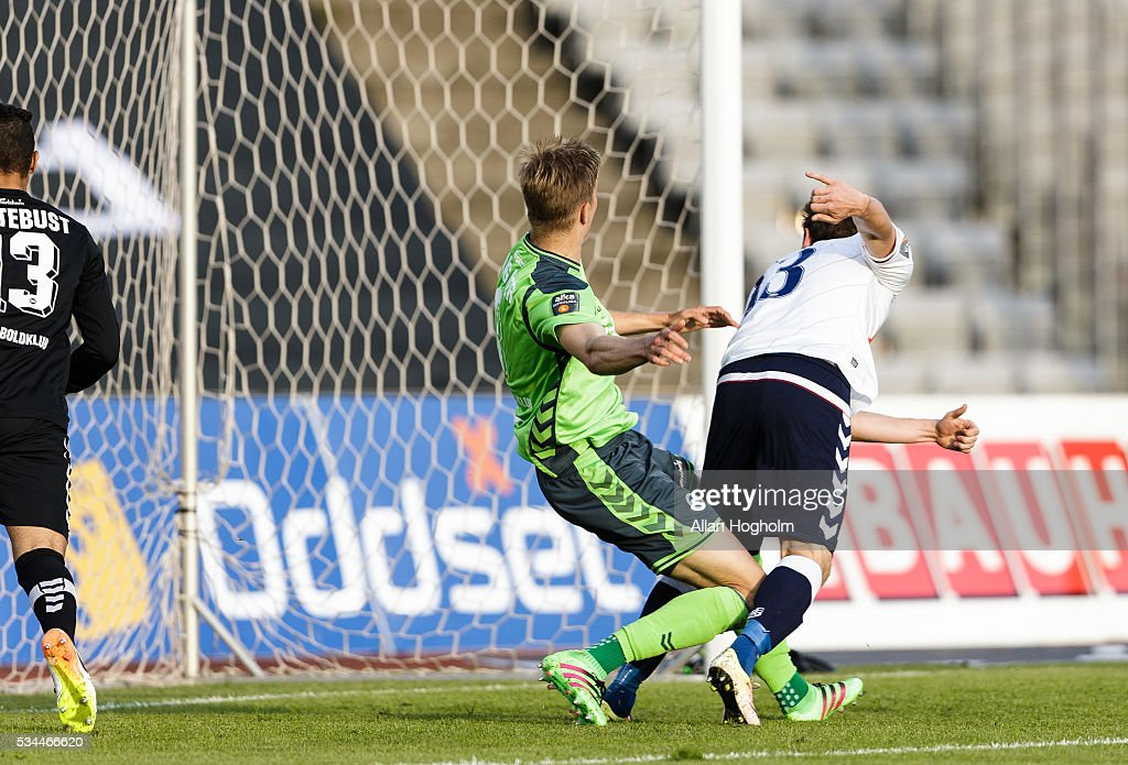 Morten Duncan Rasmussen of AGF scoring first goal during the Danish Alka Superliga match between AGF Aarhus and OB Odense at Ceres Park on May 26, 2016 in Aarhus, Denmark.