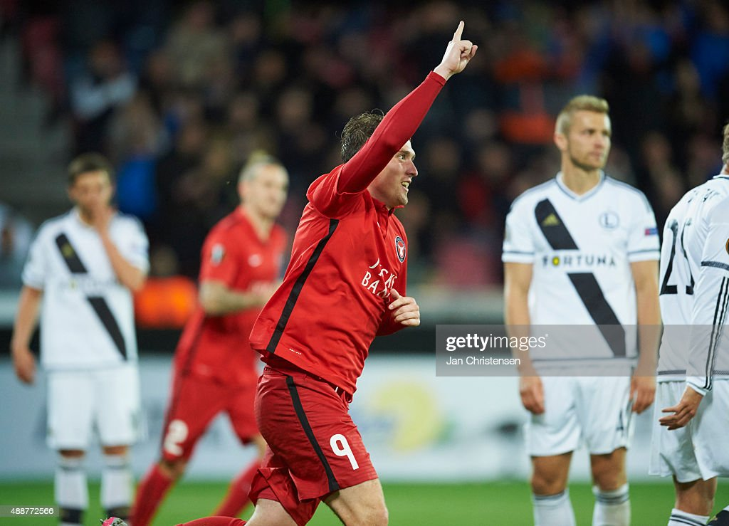 Morten 'Duncan' Rasmussen of FC Midtjylland celebrating the selfgoal from Legia Warszawa during the UEFA Europa League Group Play match between FC...